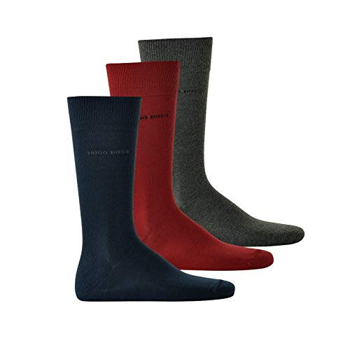 Hugo Boss Herren Socken 3er Pack - Kurzsocken, Geschenkbox, Onesize, uni, 40-46 (rot/blau/grau)