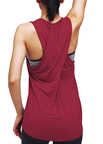 Mippo Workout Tops for Women Racerback Tank Tops Loose Fit Active Yoga Tops Running Athletic Tank Tops Muscle Tank Long Workout Shirts Exercise Tops Gym Clothes for Women Wine Red M