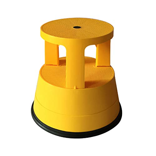 PENGJIE  Taburete Taburete de Escalera rodante Redondo de 2 Pasos con Ruedas de Resorte Taburete de Pedal Antideslizante Escabel