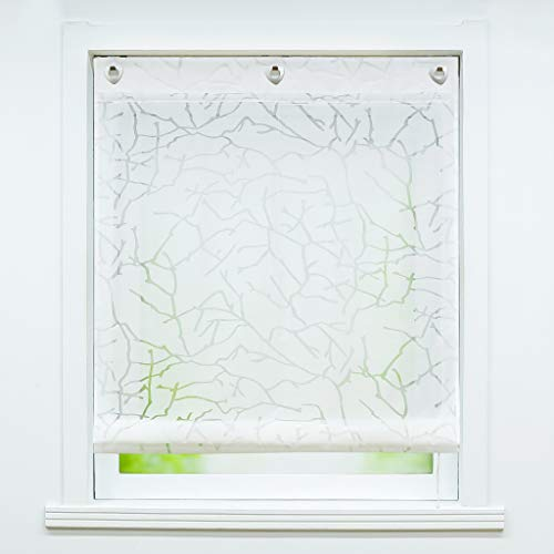 Joyswahl Voile Ösenrollo Transparenter Raffrollo Ausbrenner Raffgardinen »Äste« Schals Fenster Gardine mit Hakenaufhängung, Raffrollo ohne Bohren BxH 100x140cm Weiß 1 Stück