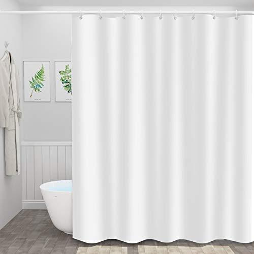 Duschvorhang aus Polyester Parkarma PEVA Wasserdichter Duschvorhang Weiß 180*200cm Waschbarer Textil Duschvorhan mit 12 Duschvorhängeringen für Badezimmer (White)