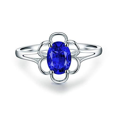 Daesar Anillo de Oro Blanco Mujer 18 Kilates,Flor con Oval Tanzanita Azul 0.6ct,Plata Azul Talla 12