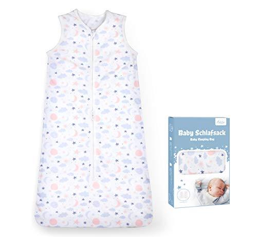 Adorfine Schlafsack Baby Sommerschlafsack 0.5 Tog Babyschlafsack aus atmungsaktiver Baumwolle Stern Wolken Schlafsack Einstellbar 70-90cm Kleine Kinder Schlafanzug für Neugeborene 3-18 Monate