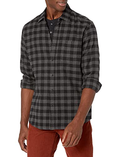 Amazon Essentials Men's Regular-Fit Long-Sleeve Flannel Shirt, Charcoal Buffalo, Large