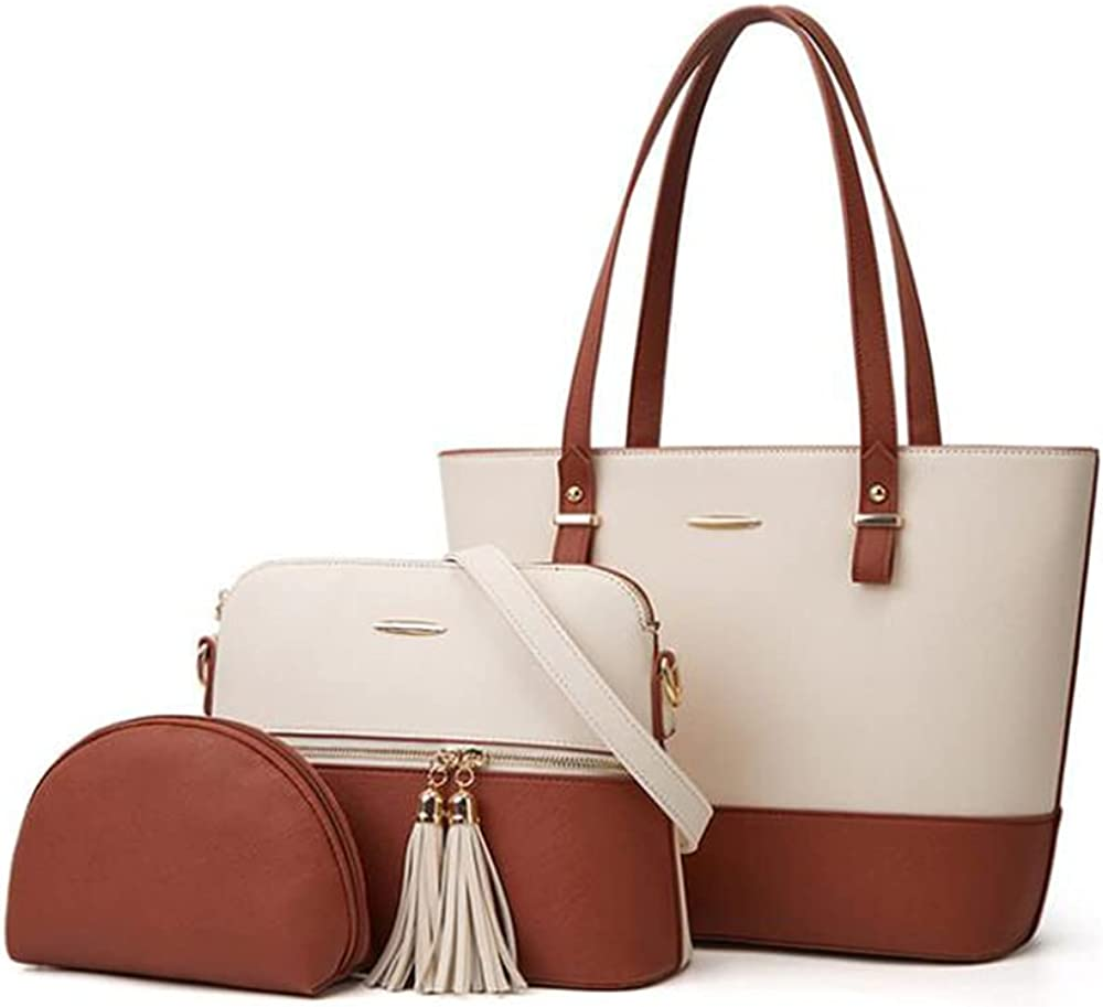 SMALLBLUER Women Soft Synthetic PU Leather Tote Hobo Shoulder Crossbody Handbags 3pcs Satchel Clutches Wallets with Tassels