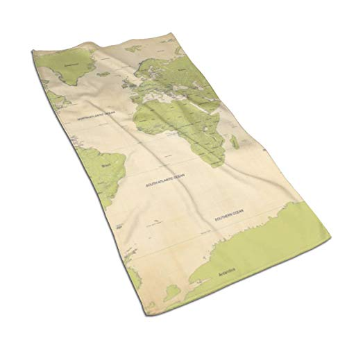 N/A - Juego de toallas de baño de algodón egipcio, diseño de acuarela con impresión artística, ultra absorbente, para viajes, deportes, mapa del mundo, 69,8 x 39,9 cm