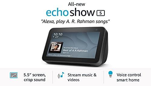 All new Echo Show 5 (2nd Gen, 2021 release) - Smart speaker with Alexa - 5.5' screen, crisp sound and 2MP camera (Black)