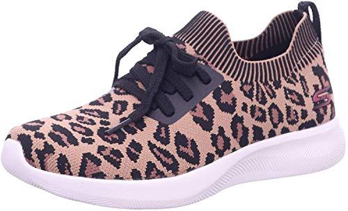 Skechers Women's BOBS Sport Squad 2 - Troop Tiger Sneaker, Leopard, 6.5