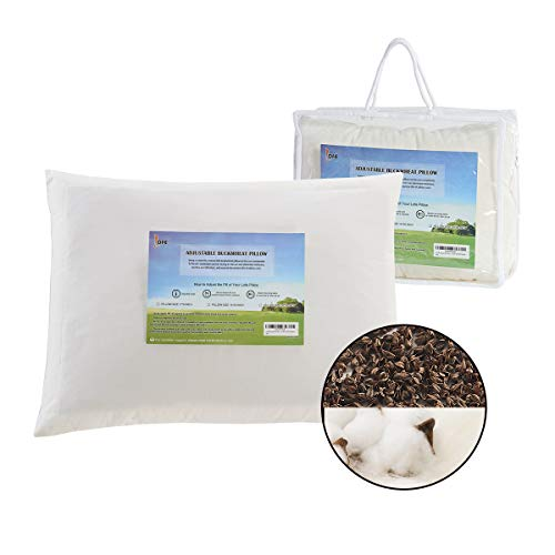 Lofe Buckwheat Hull Fiber Pillow for Sleeping with...