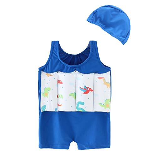 IDOPIP Kids Boys Girls Dinosaur Floatation Swimsuits with Adjustable Buoyancy Swimwear Baby Float Suit with Swim Cap Two Piece Bathing Suit Toddler Sleeveless Life Vest Float Jacket Beachwear Blue S
