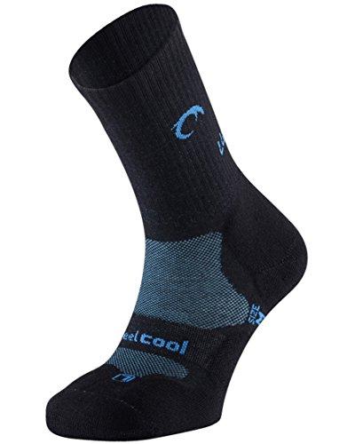 Lurbel Mountain Premium Hiking and Trekking Socks, Anti-Blister, Oddor Free, Moisture Wicking, Ergonomic Padding, Womens, Black S