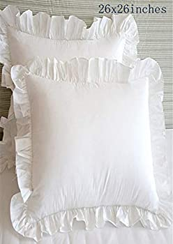 Euro Pillow Shams Throw Pillow Covers Square Cushion Cases with Ruffles Egyptian Cotton White 26 x 26 inch 2 Pieces Soft Thick