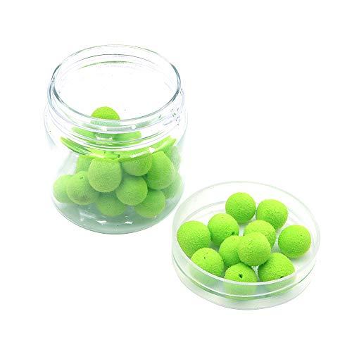 Namvo 1 caja de 30 bolas de olor de cebo de pesca, cebos flotantes para pesca de carpa, cebos artificiales, bolas de olor para pesca, verde manzana de 8 mm