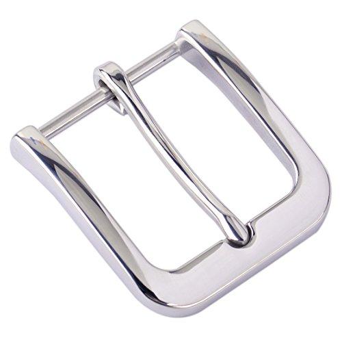 Bright Silver 304 Edelstahl Dornschließe für Herren Ledergürtel Ersatz Snap On 40mm Fashion