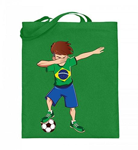ALBASPIRIT Hochwertiger Jutebeutel (mit langen Henkeln) - Dabbing Fussball Spieler Dab Brasilien Fan T-Shirt Brazil Fussballer Geschenk