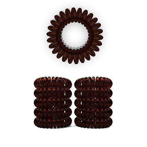 10er Set Spiral Haargummi - Haargummis für weniger Spliss und gebrochene Haare - Haargummi Spirale für feine Haarpartien - Telefonkabel Spiralhaargummi, Braun, 3,5 cm