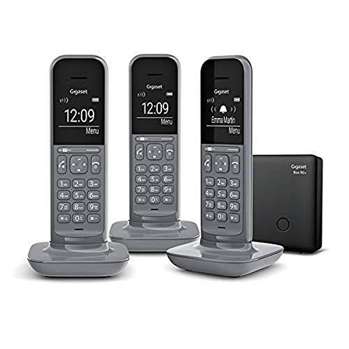 Gigaset CL390A Trio - Téléphone Fixe sans fil design avec Répondeur, Grand écran Rétro-Éclairé, fonctions Mains Libres et Blocage D'appels - 3 combinés - Gris Anthracite