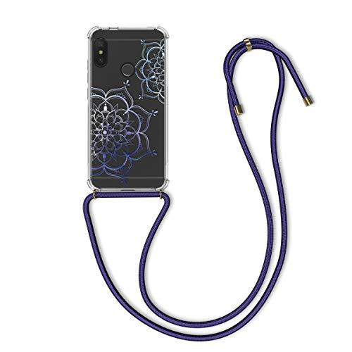 kwmobile Funda con Cuerda Compatible con Xiaomi Redmi 6 Pro/Mi A2 Lite - Carcasa de TPU con Colgante Flor Pintada Azul/Transparente