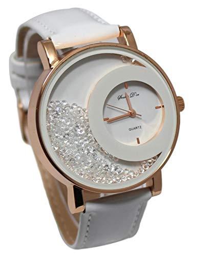 Estuche que contiene un reloj de pulsera para mujer con brillantes dorados y correa de cuero blanco y una pulsera doble Stardust Dolce Vita