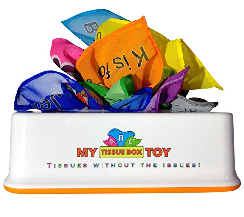 My Tissue Box Toy, Alphabet Set, 26 Chiffon Tissues, 13 Colors, Machine Washable - Infant to Preschooler