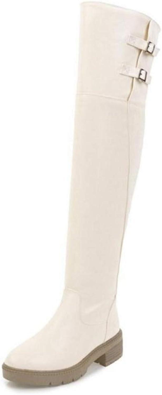 T-JULY Women's Winter Warm Boots Fur Zipper Knee Thick Thigh High Heel Footwears shoes