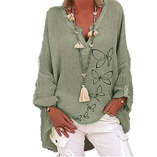 QWEWQE Blusa de lino de gran tamaño para mujer, blusa de mujer, camiseta de lino, cuello en V, camiseta larga, elegante estampado de mariposas, suelta, informal A09 XXXXXL