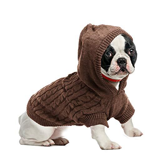 ubest Hundepullover, Sweater Gestrickter Pullover mit Kapuze für Kleine Hunde, Hunde Pullover Katzenpullover für Herbst Winter, Braun, S