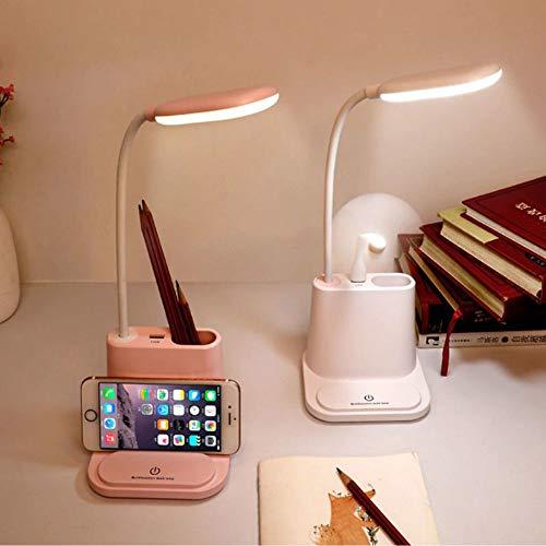Luminária LED Carregador Celular USB Com Porta Lápis (rosa)