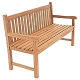 Divero 3-Sitzer Bank Holzbank Gartenbank Sitzbank 150 cm – zertifiziertes Teak-Holz behandelt hochwertig massiv – Reine...