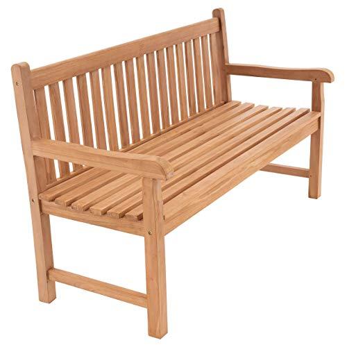 Divero 3-Sitzer Bank Holzbank Gartenbank Sitzbank 150 cm – zertifiziertes Teak-Holz behandelt hochwertig massiv – Reine Handarbeit – wetterfest (Teak behandelt)