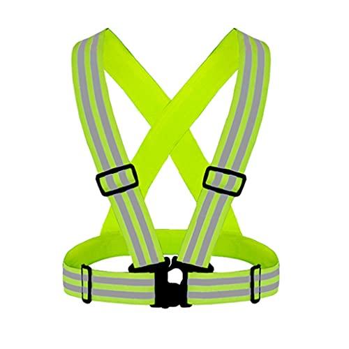 ZANZAN Chaleco Reflectante Ligero Ajustable y elástico de Alta Visibilidad para Correr, Caminar, Ciclismo Adapta sobre la Ropa al Aire Libre (Color : Fluorescent Yellow)