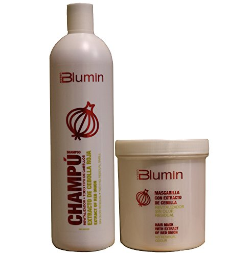 Blumin Shampoo 1000ml + Mask 700ml with Extract of Red Onion (NO RESIDUAL ODOUR)