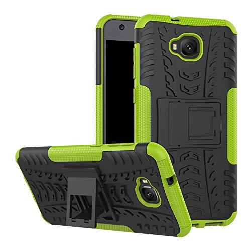pinlu® Custodia per ASUS Zenfone 4 Selfie ZD553KL Smartphone Armatura Rugged Heavy Duty Cover Doppio Strato TPU + PC Antiurto Protettiva Case Pneumatico Modello Verde