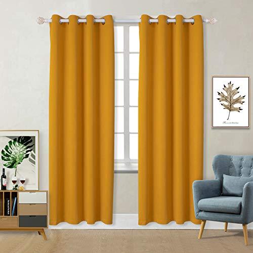BGment Vorhänge Gardine Verdunklungsgardine mit Ösen 2 Stück Sonnenschutz für Schlafzimmer, Wohnzimmer (H 175 X B140cm, Gelb)