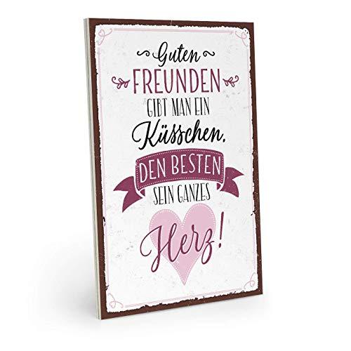 JEFFERS houten bord met spreuk - Guten Freunde GIBT Man EEN KUSSEN - Vintage Shabby deco-muurschildering / deurschild 19 x 28 cm