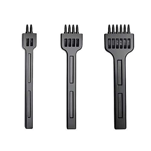 DXIA 3Pcs Punzoni in Acciaio,Punzonatrice Fai da Te in Pelle,Strumenti di Punzonatura Punzoni, 2-6mm 2 + 4 + 6 Denti Cuciture Scalpello Tool, per Allacciatura Cucitura Artigianale in Pelle
