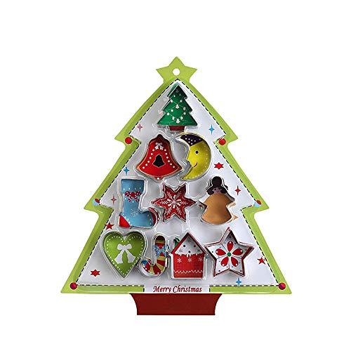 Eco Memos Cortadores de Galletas Set 10 piezas Molde de Galletas de árbol de Navidad - Cortadores de Galletas de Acero Inoxidable Fondant DIY Cortadores de Pastelería, 4.5x5.5x1.6cm