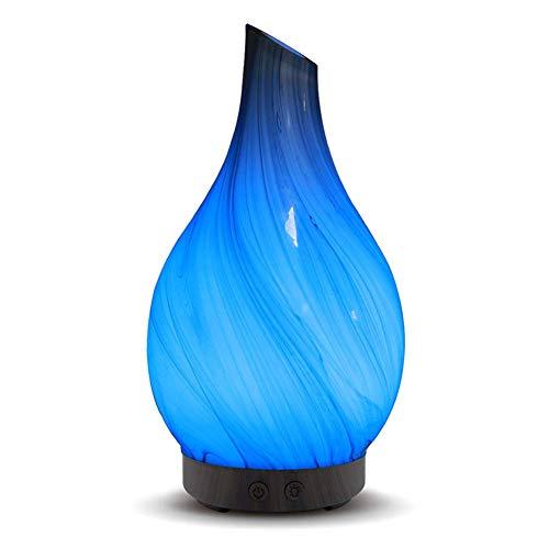 Difusor de Aceites Esenciales de Vidrio, Ultrasónico Humidificador, Lámpara Difusora Aromaterapia de Vapor Frío, 7 Colores de LED, Humificador de Aire en Forma de Jarrón para Yoga SPA Hogar Oficina