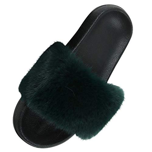 DAIFINEY Damen Hausschuhe behaart Bequem Pantoffeln Kuschelige Home Indoor Outdoor Slippers Freizeit rutschfeste Slip On Schuhe Flacher Boden(X-Grün/Green,38)