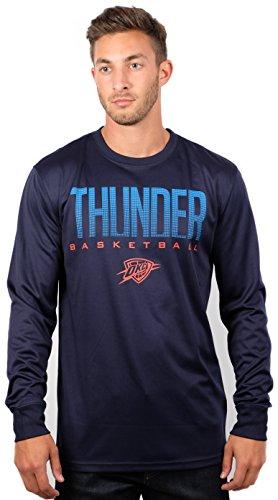Ultra Game NBA Oklahoma City Thunder Mens Active Long Sleeve Tee Shirt, Team Color, XX-Large