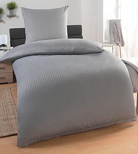 MALIKA® Damast Hotelbettwäsche | Satin Bettwäsche 135x200 mit 80x80 Kissenbezug | Bettwäsche mit Baumwolle für EIN besonders wohliges Hautgefühl, Farbe:Grau Reißverschluss, Größe:135x200 + 80x80