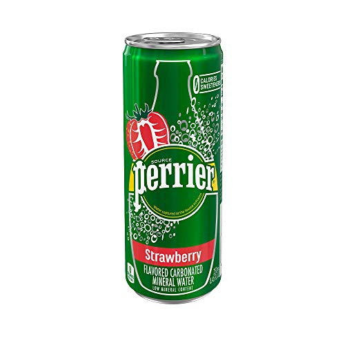 Perrier Strawberry Flavored Carbonated Mineral Water, 8.45 fl oz. Slim Cans (10 Pack)