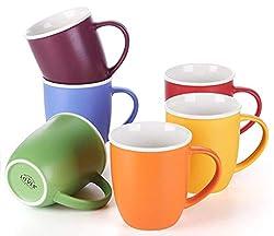 professional LIFVER 18oz Coffee Cup Large Porcelain Coffee Tea Cocoa Cup 6 Color Mix Set