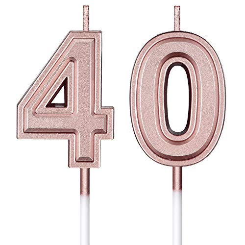 Velas de Cumpleaños 40 Velas de Numeros de Pastel Topper Decoración de Pastel de Feliz Cumpleaños para Cumpleaños Boda Aniversario Celebración, Oro Rosa