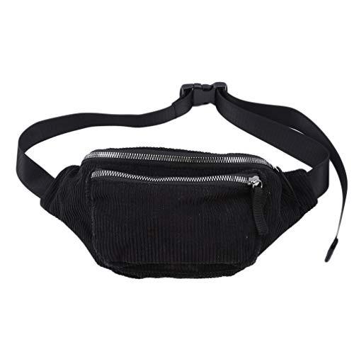 Yinew Cord Brusttasche Gürteltasche Mit Reißverschluss Mode Schulter Messenger Bags Handytasche Fanny Geschenk Für Frauen, Schwarz