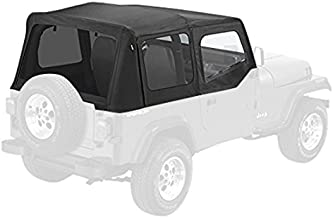 Pavement Ends by Bestop 51132-15 Black Denim Replay Replacement Soft Top Tinted Windows w/Upper Door Skins for 1988-1995 Jeep Wrangler