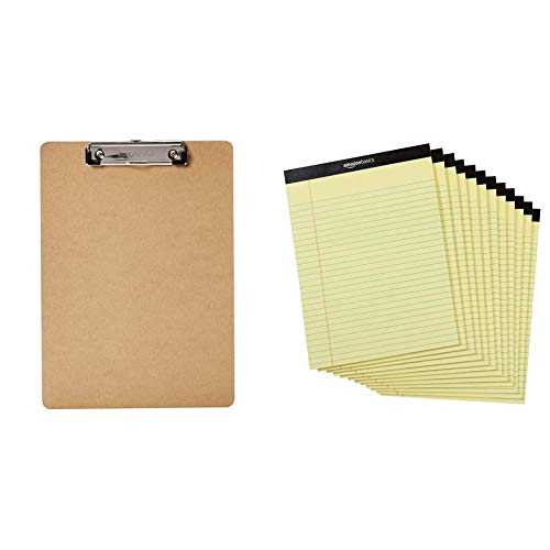 Amazon Basics Hardboard Office Clipboard - 6-Pack & Legal/Wide Ruled 8-1/2 by 11-3/4 Legal Pad - Canary (50 Sheet Paper Pads, 12 Pack)