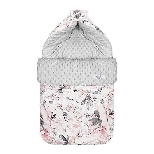 Babyboom universaler Fußsack (45x88 cm) geeignet für Babyschale, Kinderwagen/wasser- und winddicht/Baumwolle & Minky/für Herbst-Winter-Frühjahr (Flowers - grau)