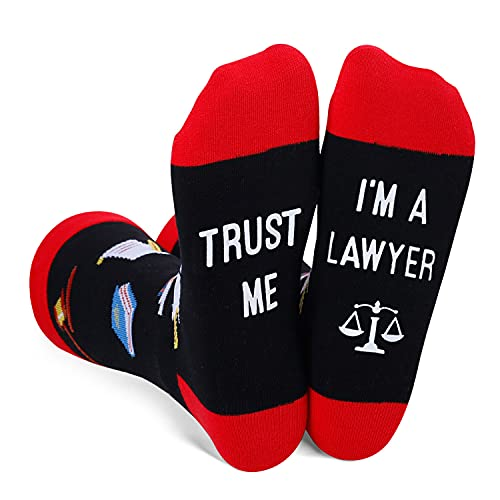SOCKFUN Lawyer Socks, Funny Law School Gift with Scales of Justice for Attorney Law Student