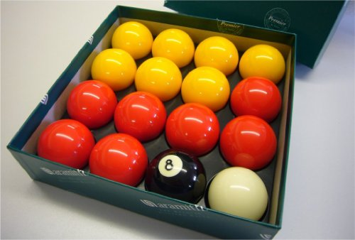 Aramith Premier Red-Yellow 2' Pool Balls with 1 7/8' White